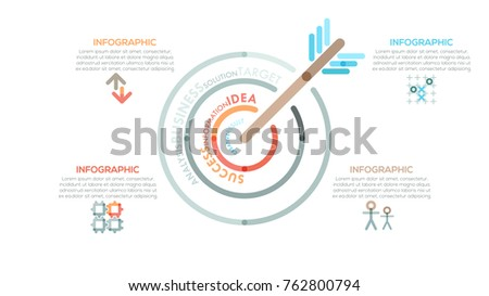 Modern infographics options banner with colorful target in outline style. Vector. Can be used for web design and  workflow layout. Unusual presentation slide