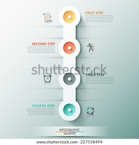 Modern infographics process template with 4 circle buttons icons and text Vector Can be used for web design and workflow layout