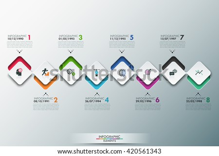 Modern infographics process template with connected paper rectangle sheets, icons and text for 8 steps. Vector. Can be used for web design, timeline and workflow layout