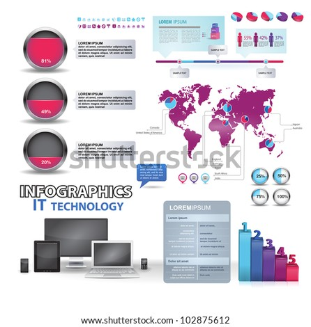 Modern infographics set and icons IT technology. World Map and Information Graphics