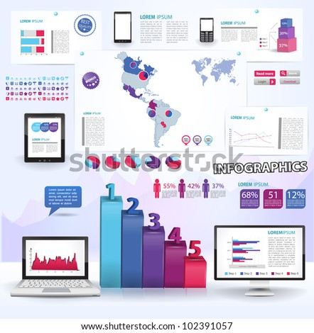 Modern infographics set and icons IT tehnology.  Map of South and North America and Information Graphics