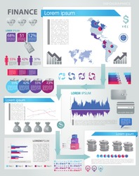 Modern infographics set. World and America Map  and Information Graphics with finance icons. Easy to edit