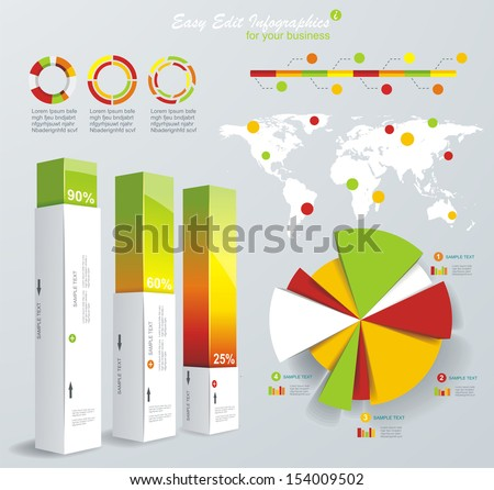 Modern infographics set. World Map and Information Graphics. Vector