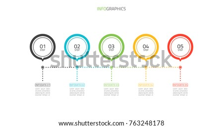 Modern infographics template.Timeline process with 5 steps, options, circles design.Vector EPS10 illustration