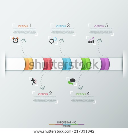 Modern infographics timeline template with realistic colorful ribbon divided into 5 steps and icons. Vector. Can be used for web design and  workflow layout