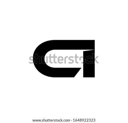 Modern Initial logo 2 letters black simple CI Stock fotó ©