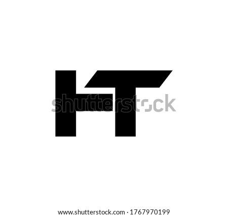 Modern Initial logo 2 letters black simple HT Stock fotó ©