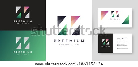 Modern Initial N Letter Logo With Premium Business Card Design Vector Template for Your Company Business Foto stock ©