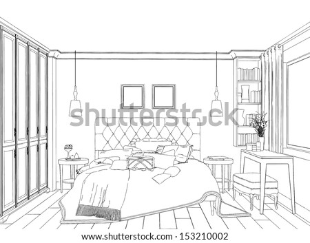 Royalty free interior sketches bedroom living room for Bedroom designs sketch