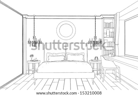 Modern Interior Bedroom Hand Drawing Stock Vector