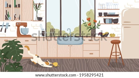 Modern interior design of cozy home kitchen with window, wooden furniture, cooking appliances, utensils, decoration, flowers and plants. Colored flat vector illustration of room in rustic style