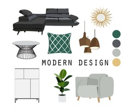 modern interior design vector illustration. furniture mood board. contemporary style living room. realistic look.