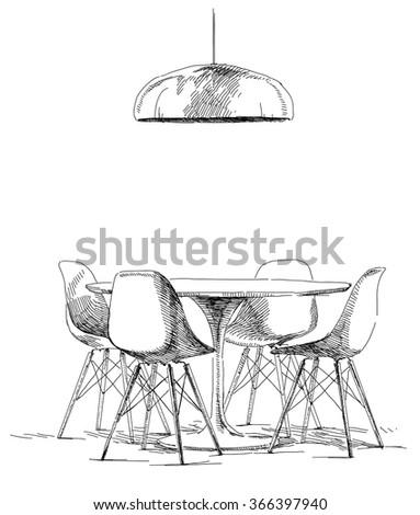 modern interior hand drawing