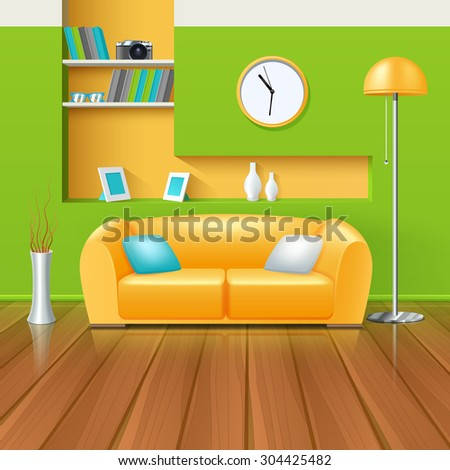modern interior in green yellow