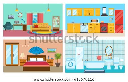 Living Room Bedroom Bathroom Kitchen. Modern Interior Of Rooms Living Room With Interior And Decor Kitchen With Furniture