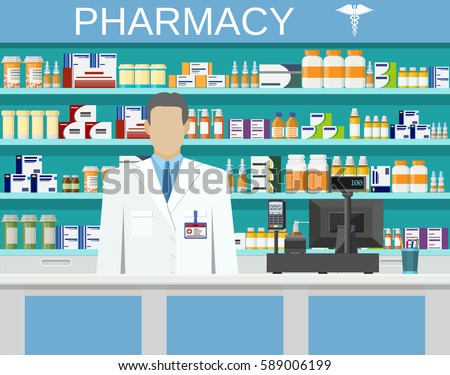 Modern interior pharmacy or drugstore with male pharmacist at the counter. Medicine pills capsules bottles vitamins and tablets. vector illustration in flat style
