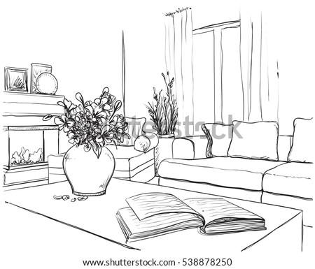 modern interior room sketch