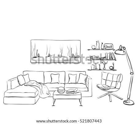 modern interior room sketch s