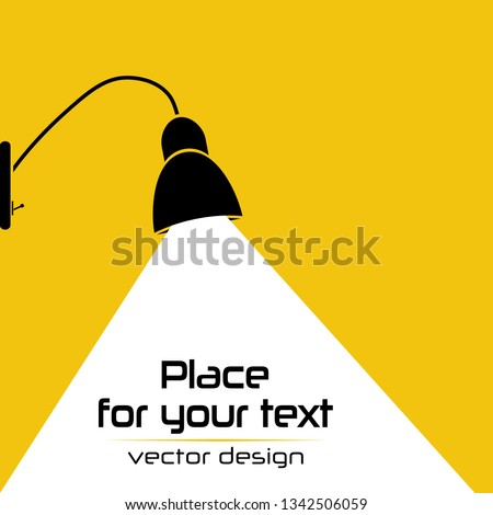 Modern interior.Vector Isolated Lamp.Lamp bulb Icon.Place for your text on yellow background