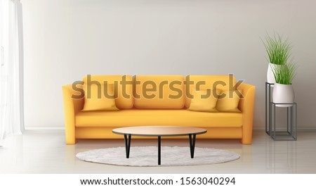 modern interior with yellow