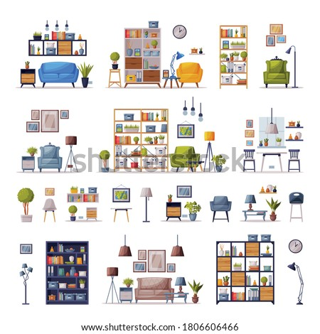 Modern Interiors with Comfy Furniture Set, Cozy Apartments Design, Home Decor Collection Vector Illustration Foto stock ©