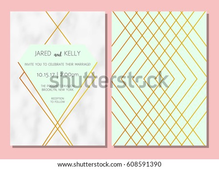 Modern geometric invitation download free vector art stock modern invitation to the wedding vector geometric background with a pattern of marble with gold stopboris Image collections