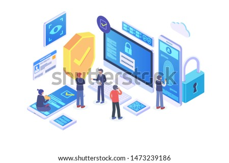 Modern Isometric Authentication Method Illustration, Web Banners, Suitable for Diagrams, Infographics, Book Illustration, Game Asset, And Other Graphic Related Assets