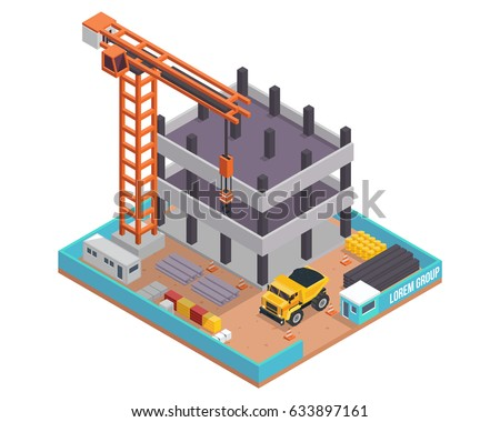 Modern Isometric Construction Site Illustration, Suitable For Infographic, Games, Children Books, And Other Graphic Related Assets.