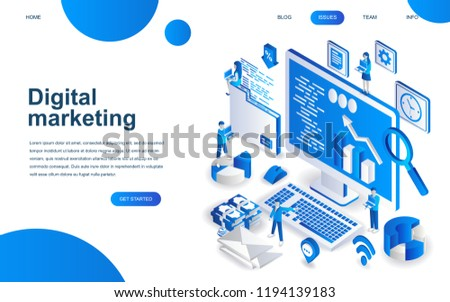 Modern isometric design concept of Digital Marketing for website and mobile website development. Isometric landing page template. Business analysis, content strategy. Vector illustration.