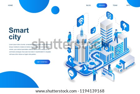 Modern isometric design concept of Smart City for website and mobile website development. Isometric landing page template. Business center with skyscrapers. Vector illustration.