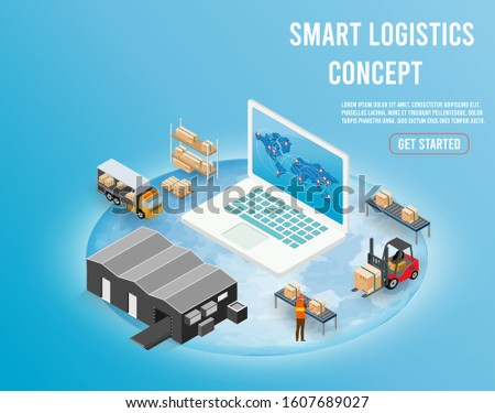 Modern isometric design concept of Smart Logistics with global logistics partnership for website and mobile website.  Easy to edit and customize. Vector illustration