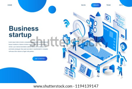 Modern isometric design concept of Startup Your Project for website and mobile website development. Isometric landing page template. Launch a new product on a business company. Vector illustration.