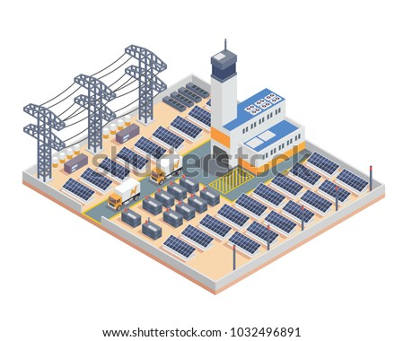 Modern Isometric Industrial Electricity Solar Plant Facility Building, Suitable for Diagrams, Infographics, Illustration, And Other Graphic Related Assets stock photo