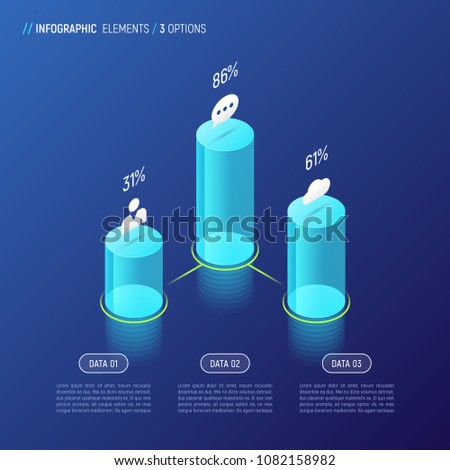 Modern isometric infographic design, chart, template, concept with 3d cylindrical elements on gradient background. 3 options, steps, processes. Global swatches.