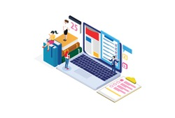 Modern Isometric Online education concept With Laptop, Suitable for Diagrams, Infographics, Game Asset, And Other Graphic Related Assets