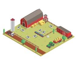 Modern Isometric Organic Farm Field Illustration Asset