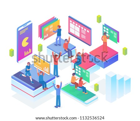 Modern Isometric Smart Virtual Reality Entertainment Technology Illustration in White Isolated Background With People and Digital Related Asset