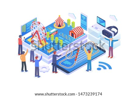 Modern Isometric Theme Park Development Illustration, Web Banners, Suitable for Diagrams, Infographics, Book Illustration, Game Asset, And Other Graphic Related Assets