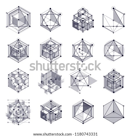 Modern isometric vector abstract black and white backgrounds set with geometric element. Layout of cubes, hexagons, squares, rectangles and different abstract elements.