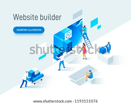 Modern isometric vector illustration concept of people making web page design for website. Creative landing page template.