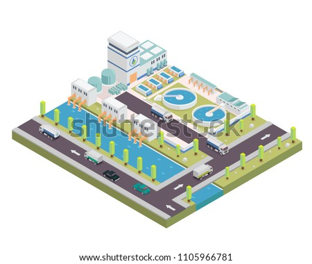 Modern Isometric Water Purification Plant Facilities, Suitable for Diagrams, Infographics, Illustration, And Other Graphic Related Assets