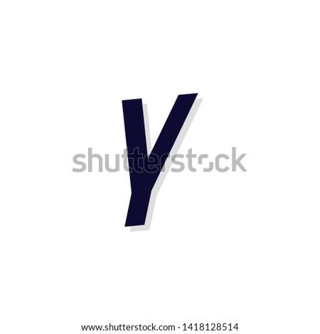 Modern Italics Vector Logo Letter Y. Y Letter Angled Urban Design Vector