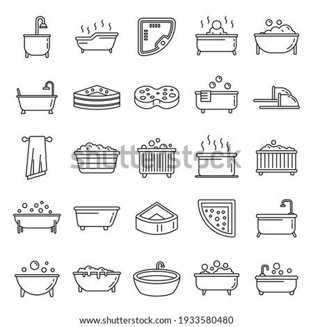 Modern jacuzzi icons set. Outline set of modern jacuzzi vector icons for web design isolated on white background Photo stock ©