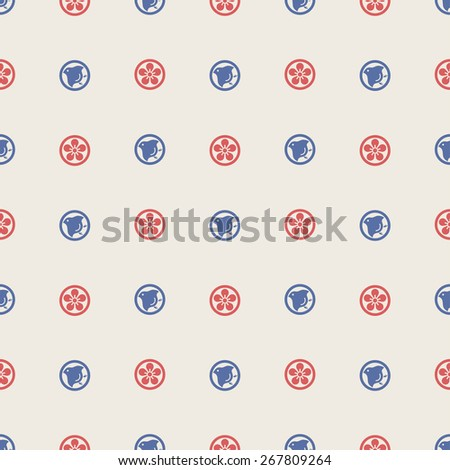 Modern Japanese Traditional Background Mon Bird and Flower Red and Blue