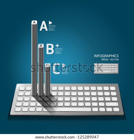 Modern keyboard  infographics education / numbered banners / horizontal cutout lines / graphic or website layout vector