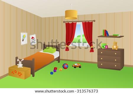 modern kid room beige toys