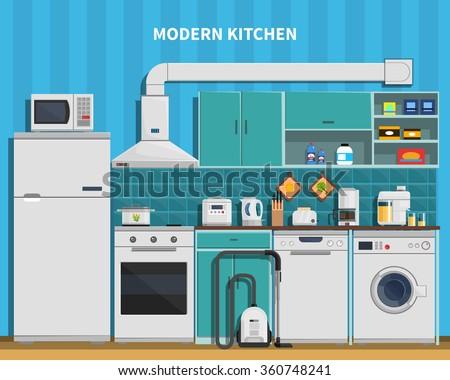 modern kitchen background with home appliances flat vector illustration - Modern Home Appliances