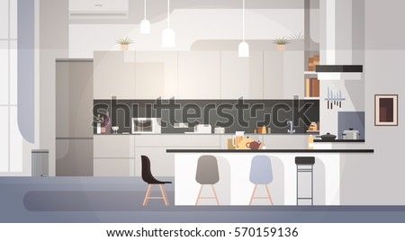 Modern Kitchen Interior Empty No People House Room Flat Vector Illustration - Shutterstock ID 570159136