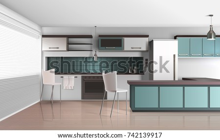 Modern kitchen interior realistic design composition with venetian shutter blinds laminated flooring fridge and cooking facilities vector illustration