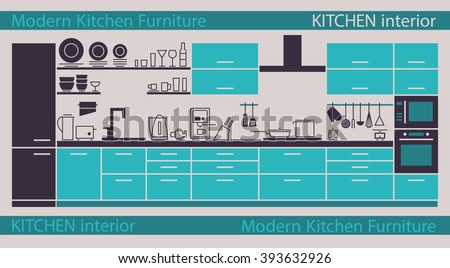 modern kitchen interior vector